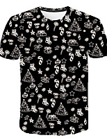 cheap -Kids Boys' Basic Street chic Black & White Color Block 3D Solid Colored Print Short Sleeve Tee Black