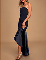 cheap -Mermaid / Trumpet Strapless Asymmetrical Polyester / Charmeuse Sexy / Black Cocktail Party / Formal Evening Dress with Pleats 2020