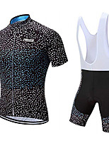 cheap -21Grams Men's Short Sleeve Cycling Jersey with Bib Shorts Black / White Polka Dot Bike Clothing Suit UV Resistant Breathable 3D Pad Quick Dry Sweat-wicking Sports Polka Dot Mountain Bike MTB Road