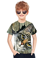 cheap -Kids Boys' Active Punk & Gothic 3D Plaid Animal Short Sleeve Tee Gray
