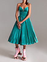 cheap -A-Line V Neck Tea Length Polyester Sexy / Turquoise / Teal Wedding Guest / Cocktail Party Dress with Pleats 2020