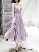 cheap -A-Line V Neck Tea Length Polyester Glittering / Pink Graduation / Cocktail Party Dress with Sequin 2020