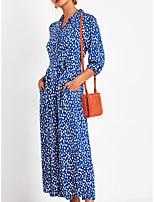 cheap -Women's A Line Dress - Polka Maxi Dot Black Blue S M L XL