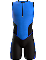 cheap -21Grams Men's Sleeveless Triathlon Tri Suit Black / Blue Geometic Bike Clothing Suit UV Resistant Breathable 3D Pad Quick Dry Sweat-wicking Sports Solid Color Mountain Bike MTB Road Bike Cycling