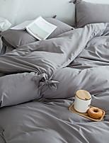 cheap -Duvet Cover Sets 3 Piece Linen / Cotton Solid Colored Black Pleated Simple