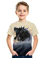 cheap -Kids Boys' Active Street chic 3D Animal Print Short Sleeve Tee Dark Gray