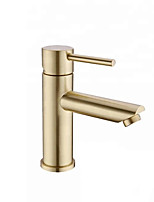 cheap -Bathroom Sink Faucet - Brushed Gold Finish Single Handle One Hole Bathroom Basin Faucet Lavatory Bath Mixer Tap