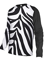 cheap -21Grams Men's Long Sleeve Cycling Jersey Downhill Jersey Dirt Bike Jersey 100% Polyester Black / White Stripes Bike Jersey Top Mountain Bike MTB Road Bike Cycling UV Resistant Breathable Quick Dry