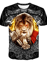 cheap -Kids Boys' Basic Street chic Lion Color Block 3D Animal Print Short Sleeve Tee Rainbow