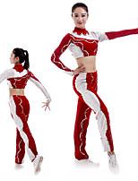 cheap -Cheerleader Costume Gymnastics Suits Women's Girls' Kids Pants / Trousers Spandex High Elasticity Handmade Long Sleeve Competition Dance Rhythmic Gymnastics Gymnastics Red