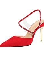 cheap -Women's Sandals Stiletto Heel Pointed Toe Suede Summer Black / Almond / Red