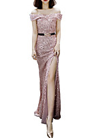 cheap -Sheath / Column Off Shoulder Floor Length Polyester Sexy / Pink Prom / Formal Evening Dress with Sequin / Split 2020