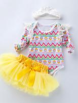 cheap -Baby Girls' Active Basic Easter Striped Geometric Bow Mesh Sleeveless Regular Clothing Set Yellow / Toddler