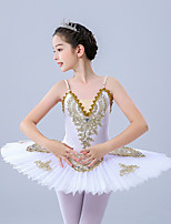 cheap -Kids' Dancewear / Gymnastics / Ballet Leotards / Tutus & Skirts Girls' Training / Performance Polyester / Tulle Scattered Bead Floral Motif Style / Embroidery / Pearls Sleeveless Leotard / Onesie