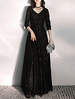cheap -A-Line V Neck Floor Length Tulle Glittering / Black Prom / Formal Evening Dress with Appliques 2020
