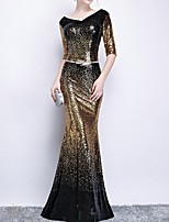 cheap -Mermaid / Trumpet V Neck Floor Length Polyester Sparkle / Black Engagement / Formal Evening Dress with Sequin / Sash / Ribbon 2020