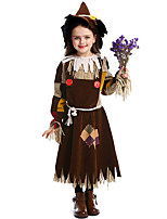 cheap -Scarecrow Dress Hat Kid's Girls' Halloween Halloween Festival / Holiday Polyster Brown Carnival Costumes / Belt / Neckwear