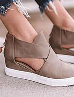 cheap -Women's Sandals Flat Heel Round Toe Suede Spring & Summer Black / Brown / Camel