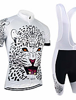 cheap -21Grams Men's Short Sleeve Cycling Jersey with Bib Shorts Black / White Animal Tiger Bike Clothing Suit UV Resistant Breathable 3D Pad Quick Dry Sweat-wicking Sports Solid Color Mountain Bike MTB