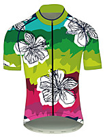 cheap -21Grams Men's Women's Short Sleeve Cycling Jersey 100% Polyester Pink+Green Gradient Floral Botanical Bike Jersey Top Mountain Bike MTB Road Bike Cycling UV Resistant Breathable Quick Dry Sports