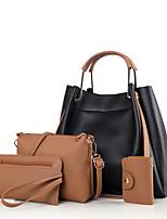 cheap -Women's Zipper PU Bag Set Solid Color 4 Pieces Purse Set Black / Wine / White