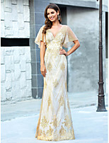 cheap -Mermaid / Trumpet V Neck Floor Length Tulle Luxurious / Gold Prom / Formal Evening Dress with Sequin / Pattern / Print 2020