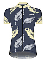 cheap -21Grams Women's Short Sleeve Cycling Jersey 100% Polyester Blue+Yellow Floral Botanical Bike Jersey Top Mountain Bike MTB Road Bike Cycling UV Resistant Breathable Quick Dry Sports Clothing Apparel