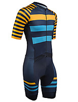cheap -21Grams Men's Short Sleeve Triathlon Tri Suit Blue+Orange Stripes Geometic Bike Clothing Suit UV Resistant Breathable 3D Pad Quick Dry Sweat-wicking Sports Solid Color Mountain Bike MTB Road Bike