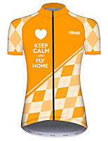 cheap -21Grams Women's Short Sleeve Cycling Jersey 100% Polyester Orange+White Bike Jersey Top Mountain Bike MTB Road Bike Cycling UV Resistant Breathable Quick Dry Sports Clothing Apparel / Stretchy