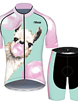 cheap -21Grams Men's Short Sleeve Cycling Jersey with Shorts Pink+Green Animal Bike UV Resistant Quick Dry Sports Patterned Mountain Bike MTB Road Bike Cycling Clothing Apparel / Stretchy