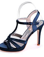 cheap -Women's Wedding Shoes Stiletto Heel Open Toe Imitation Pearl Satin Classic Spring & Summer Black / White / Purple / Party & Evening