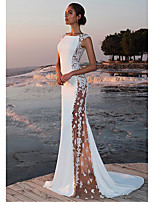 cheap -Mermaid / Trumpet Jewel Neck Sweep / Brush Train Polyester Sexy / White Engagement / Formal Evening Dress with Appliques 2020