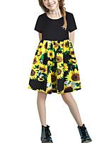 cheap -Kids Girls' Basic Cute Floral Patchwork Print Short Sleeve Above Knee Dress Black