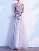 cheap -A-Line V Neck Floor Length Tulle / Sequined Glittering / Grey Prom / Formal Evening Dress with Sequin / Draping 2020