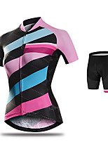 cheap -21Grams Women's Short Sleeve Cycling Jersey with Shorts Purple Pink Orange Bike Breathable Quick Dry Sports Solid Color Mountain Bike MTB Road Bike Cycling Clothing Apparel / Micro-elastic