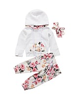cheap -Baby Girls' Basic Floral Long Sleeve Regular Clothing Set White