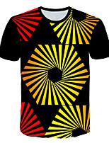 Недорогие -Дети Мальчики Классический Уличный стиль Контрастных цветов 3D Радужный С принтом С короткими рукавами Футболка Цвет радуги