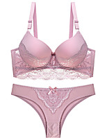 cheap -Women's Push-up Lace Bras 3/4 Cup Bra & Panty Set Novelty Lace Black White Purple