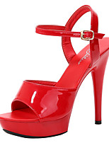 cheap -Women's Sandals Stiletto Heel Round Toe Buckle PU Classic Summer Black / White / Purple / Party & Evening