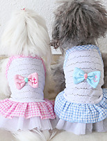 cheap -Dog Costume Dress Dog Clothes Breathable Red Pink Blue Costume Beagle Bichon Frise Chihuahua Fabric Voiles & Sheers Plaid / Check Bowknot Casual / Sporty Cute XS S M L XL