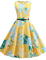 cheap -Women's Party Daily Active Cute Swing Dress - Floral Print Patchwork Print Yellow S M L XL