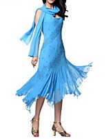 cheap -Latin Dance Dresses Women's Performance Polyester Pleats / Appliques Dress
