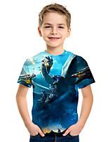 Недорогие -Дети Мальчики Активный Уличный стиль 3D Животное С принтом С короткими рукавами Футболка Синий