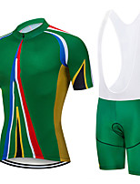cheap -21Grams Men's Short Sleeve Cycling Jersey with Bib Shorts Green Stripes Bike Clothing Suit UV Resistant Breathable 3D Pad Quick Dry Sweat-wicking Sports Solid Color Mountain Bike MTB Road Bike Cycling