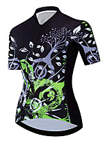 cheap -21Grams Women's Short Sleeve Cycling Jersey 100% Polyester Black / Green Floral Botanical Bike Jersey Top Mountain Bike MTB Road Bike Cycling UV Resistant Breathable Quick Dry Sports Clothing Apparel