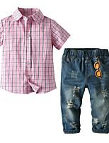 cheap -Kids Toddler Boys' Basic Birthday Party Party & Evening Houndstooth Short Sleeve Regular Regular Clothing Set Blushing Pink