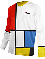 cheap -21Grams Men's Long Sleeve Cycling Jersey Downhill Jersey Dirt Bike Jersey 100% Polyester Red and White Plaid / Checkered Bike Jersey Top Mountain Bike MTB Road Bike Cycling UV Resistant Breathable