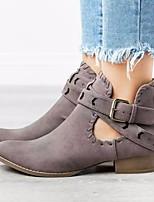 cheap -Women's Sandals Chunky Heel Open Toe PU Summer Dark Grey / Brown / Black