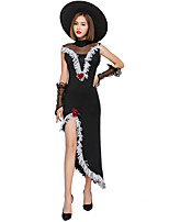 cheap -Witch Outfits Party Costume Adults' Women's Halloween Halloween Festival / Holiday Polyster Black Women's Carnival Costumes / Dress / Gloves / Hat