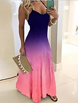 cheap -Women's Swing Dress - Color Block Maxi Purple Blue Red S M L XL